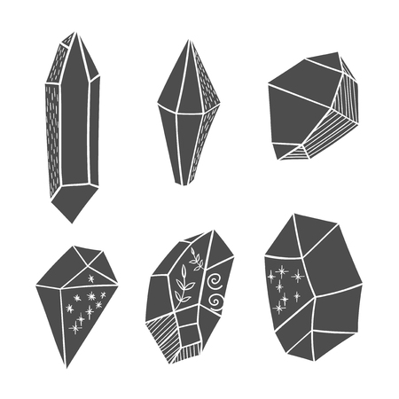 Vector hand drawn boho crystal elements