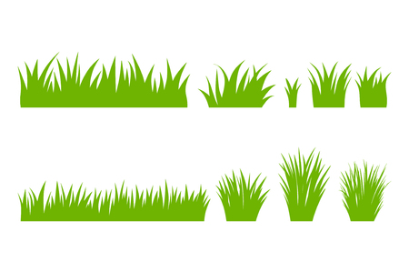 Vector green natural, organic, bio, eco label and shape, grass on white background. Hand drawn stains set.