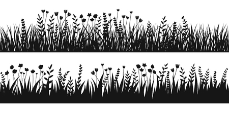 Spring black grass silhouette seamless background. Vector brush for eco, nature design