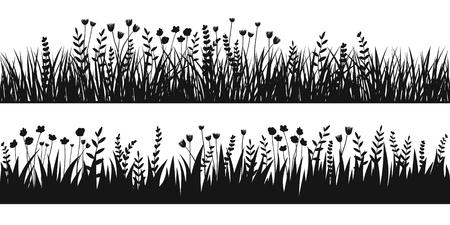 Het silhouet naadloze achtergrond van het de lente zwarte gras. Vectorborstel voor eco, aardontwerp Stock Illustratie