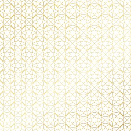 islamic pattern: Ramadan Kareem gold gradient greeting card, banner, seamless pattern. Vector arabic ornate geometric shining background in islamic style Illustration