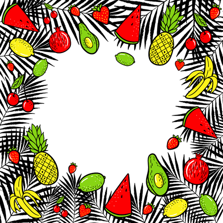 Summer tropical fruits vector illustration. Hand drawn fashion patches : lemon, avocado, pineapple, banana, watermelon on palm leaves background. Pop art patche, pin, badge 80s style