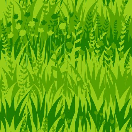 Summer green grass seamless pattern background Illustration