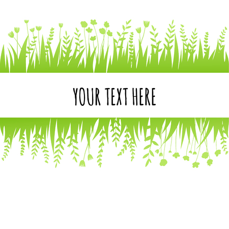 Summer green grass background for text. Vector eco, nature design banner, template