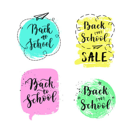 Back to school labels, greeting cards set. Vector quote with hearts, stars, airplane.