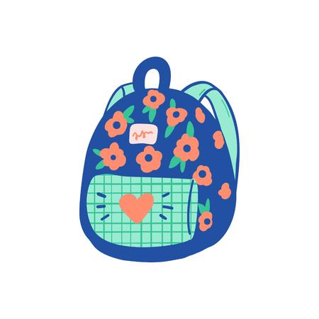 A Vector school backpack illustration element. Kids, travel rucksack icon on white background