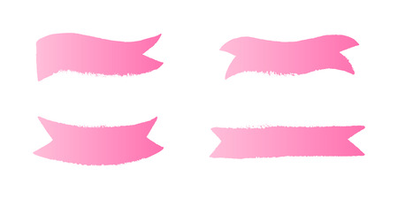 Breast Cancer Awareness Month ribbon elements set. Vector pink gradient shape on white background.