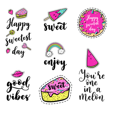 Vector elements set with lettering: Happy sweetest day, Good, vibes, fashion fun patches: lip, ice cream, candy, watermelon, doughnut, cake, lollipop on background. Pop art stickers style Ilustração