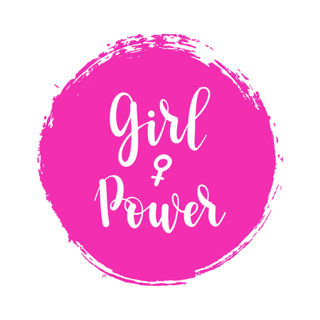 Girl power feminism poster with woman sign. Vector female symbol pink icon