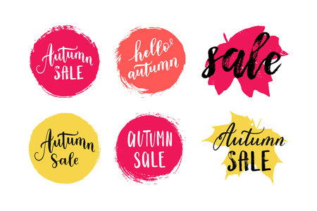 Autumn sale leaves prints, banner, label, round shape. Vector set collection of paint brush sticker tags isolated on white background. Hand drawn design elements. Illustration