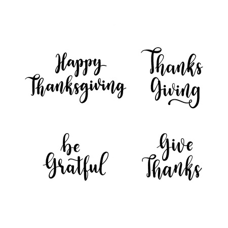 Happy Thanksgiving, Be gratful, Give Thanks hand lettering elements set. Autumn greeting cards text, Thanksgiving celebration design