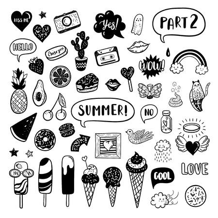 Vector hand drawn summer fashion doodles.
