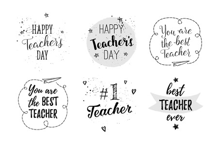 Happy Teachers Day labels, greeting cards, posters set. Vector quote I love my Teacher, You are the best Teacher on a white background with hearts, stars, flowers, airplane. Illustration