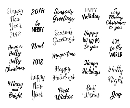 Happy new year and merry christmas hand lettering set for greeting happy new year and merry christmas hand lettering set for greeting cards vector winter holiday m4hsunfo