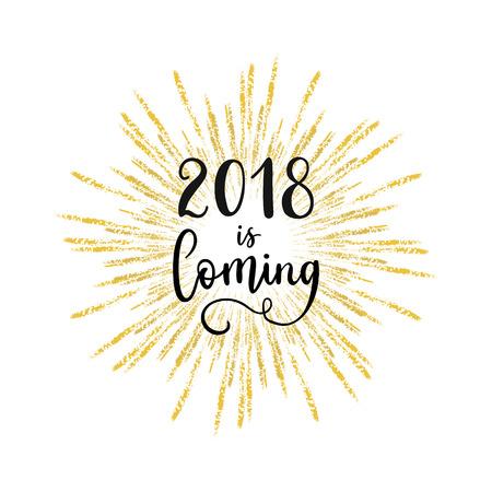 2018年はグリーティングカードが来ています。スターバースト、手のレタリング書とベクトル冬の休日黄金の背景