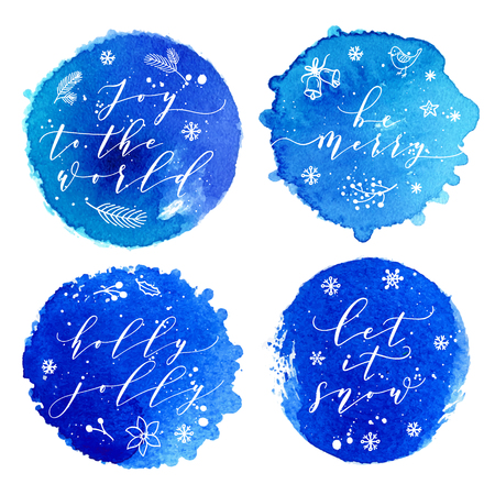 Joy to the world, Be Merry, Holly Jolly, Let it snow greeting cards set.