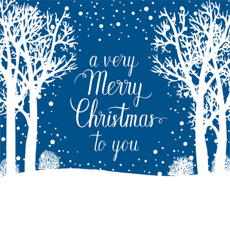 A very Merry Christmas to you greeting card. Vector winter holidays background with hand lettering calligraphic, snowflakes, falling snow, trees. Illustration