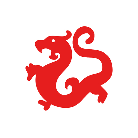 China Dragon simple icon, zodiac symbols. Vector red label