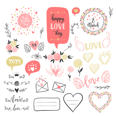 Vector hand drawn fashion love elements for Happy Valentines Day. Labels, overlays, speech bubble,calligraphy, heart, arrow, wings, flowers set