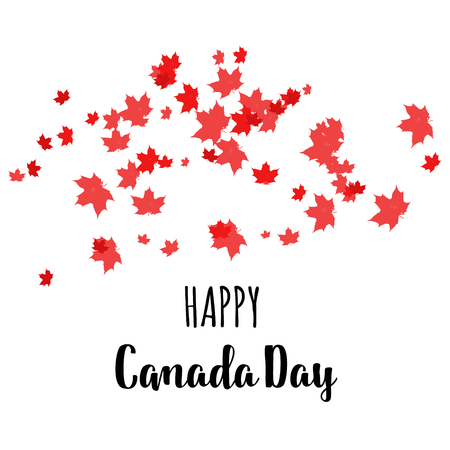 Happy Canada Day label, logo, banner, card, clipart with red maple leaves.