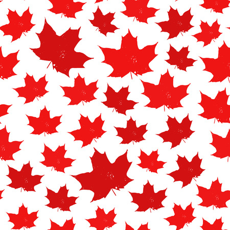 Canada seamless pattern. Vector background with red maple leaves