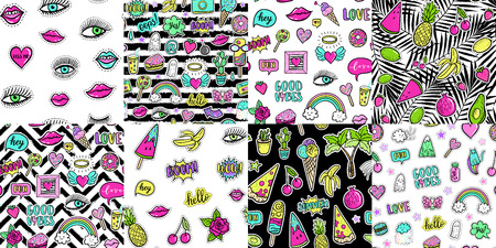 Hand drawn fashion patches tropical avocado, banana, watermelon, tropical palm, pizza, lip, cake, seamless pattern. Vector illustration background set. Ilustração