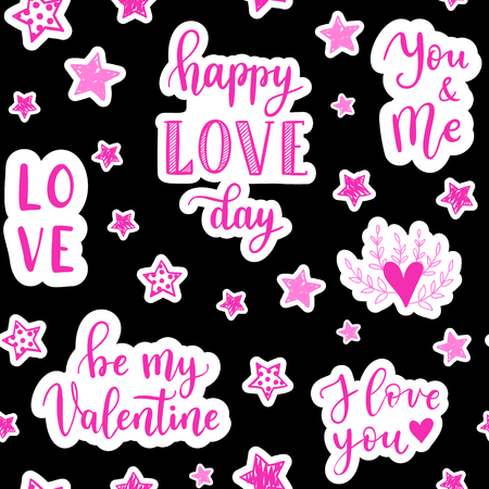 Vector fashion fun patches seamless pattern: Happe love day, Be my Valentine, stars, heart. Pop art pink stickers for wedding, Valentines Day, love prints background