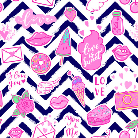 Vector fashion fun patches seamless pattern: I love you, smile, wings, ice cream, camera, sweets, lip, candy, heart. Pop art pink stickers for wedding, Valentine's Day, love prints background 向量圖像