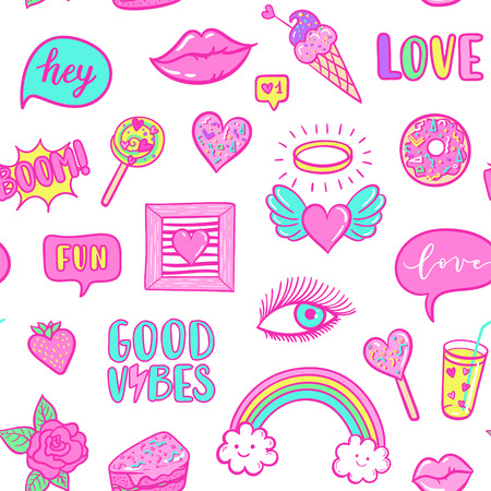 Vector fashion fun patches seamless pattern: rainbow, cloud, doughnut, lip, Good vibes, strawberry, cake, candy, heart. Pop art pink stickers for wedding, Valentine's Day, love prints background Illustration