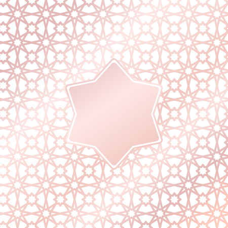 Vector rose gold pattern background with star element in arabic style Illustration