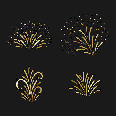 Vector golden firework hand drawn elements set. Holiday decor on black background.