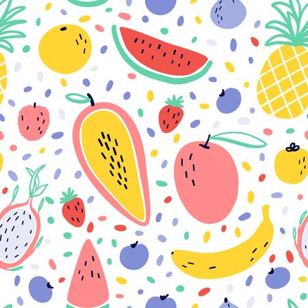 Fond de fruits tropicaux de vecteur avec ananas, mangue, pastèque, fruit du dragon, Pitaya, banane, papaye. Modèle sans couture de fruits exotiques d'été avec des éléments de style memphis