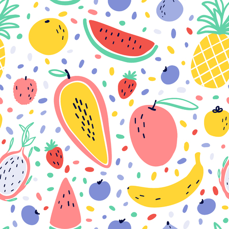 Vector tropical fruit background with pineapple, mango, watermelon, dragon fruit, Pitaya, banana, papaya. Summer exotic fruit seamless pattern with memphis style elements