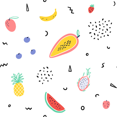 Tropical fruit background with Memphis style elements