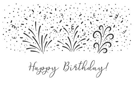 Vector Happy birthday text party background. Party confetti doodle graphic. Vektoros illusztráció
