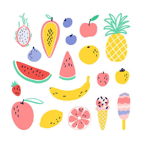 Vector tropical fruit elements with pineapple, mango, watermelon, dragon fruit, Pitaya, banana, papaya. Summer exotic food.