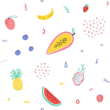 Vector tropical fruit background with pineapple,   watermelon, dragon fruit, Pitaya, banana, papaya. Summer exotic fruit seamless pattern with memphis style elements