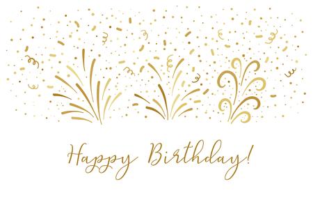Vector golden Happy birthday text party background. Party confetti doodle graphic Vektoros illusztráció