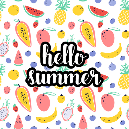 Hello summer text with tropical fruit elements. Stock Illustratie