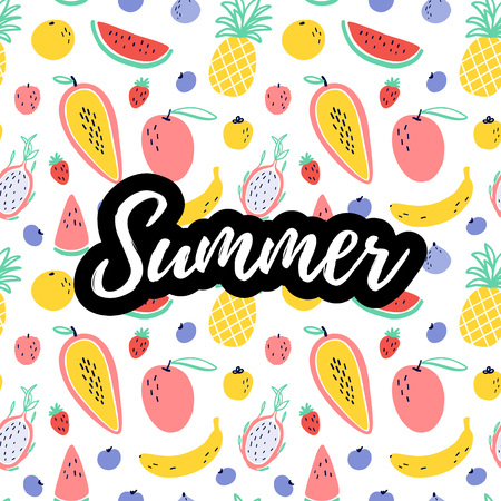 Summer text with tropical fruit elements : pineapple, mango, watermelon, dragon fruit, Pitaya, banana, papaya. Vector exotic food seamless pattern background