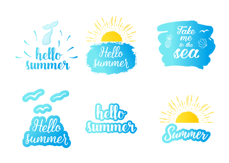 Hello summer text with sun, blue sea. Vector exotic beach icon,   graphic set Vector illustration.
