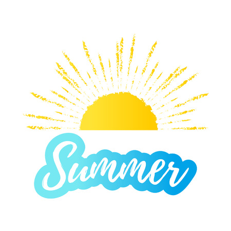 Hello summer text with sun, blue sea. Vector exotic beach icon, label, graphic Stock Illustratie