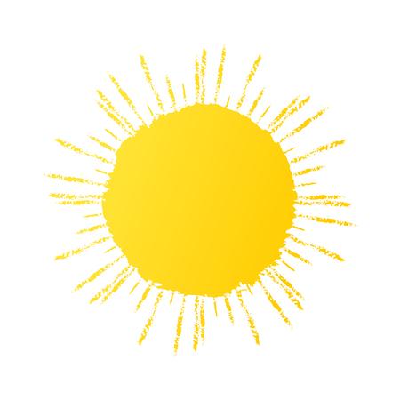 Hand drawn cute sun icon. Vector yellow sunshine graphic Vettoriali