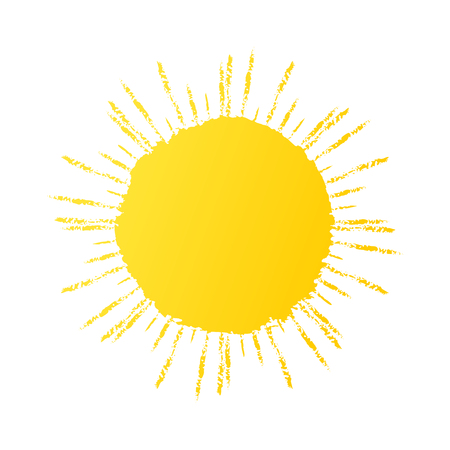 Hand drawn cute sun icon. Vector yellow sunshine graphic Illustration