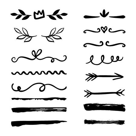 Conjunto de bordes dibujados a mano, soportes, remolinos, divisores. Elementos de pincel de tinta de vector. Ilustración de vector