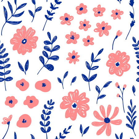Hand drawn fashion pink floral seamless pattern. Vector doodle background