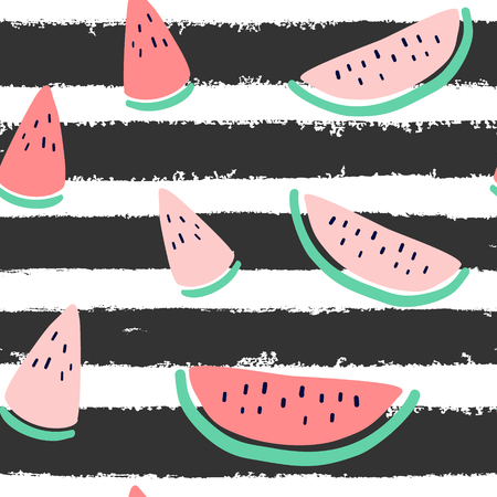 Vector tropical fruit background with watermelon, stripes. Summer exotic fruit seamless pattern