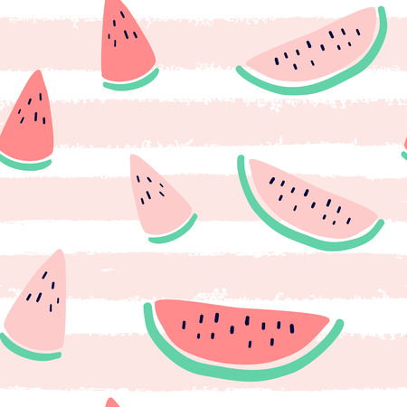 Vector tropical fruit background with watermelon, stripes. Summer exotic fruit seamless pattern. Stock Illustratie