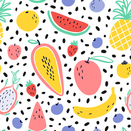 Vector tropical fruit background with pineapple, mango, watermelon, dragon fruit, Pitaya, banana, papaya. Summer exotic fruit seamless pattern with Memphis style elements.