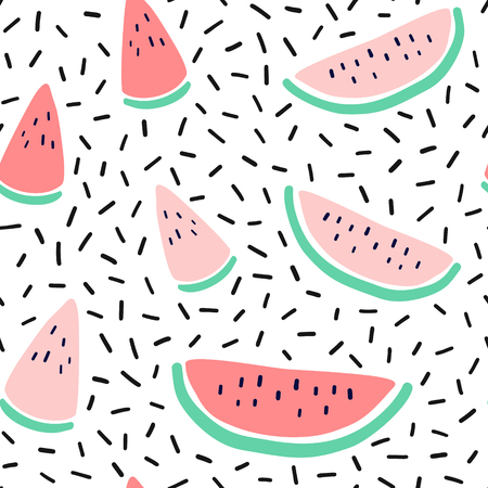 Vector tropical fruit background with watermelon. Summer exotic fruit seamless pattern in memphis style